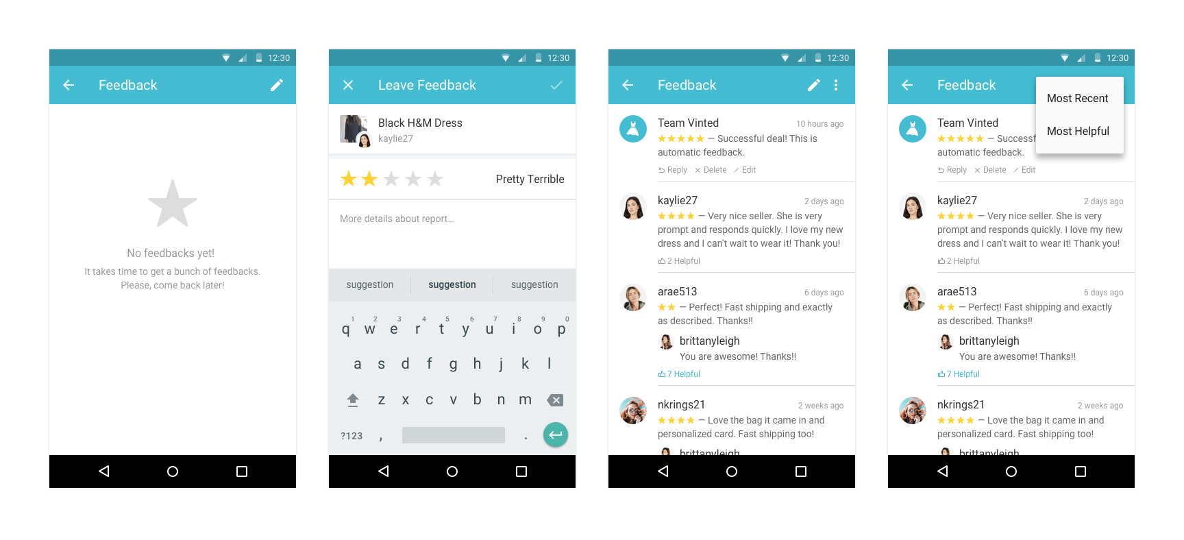 The updated flow for feedback leaving on Android.